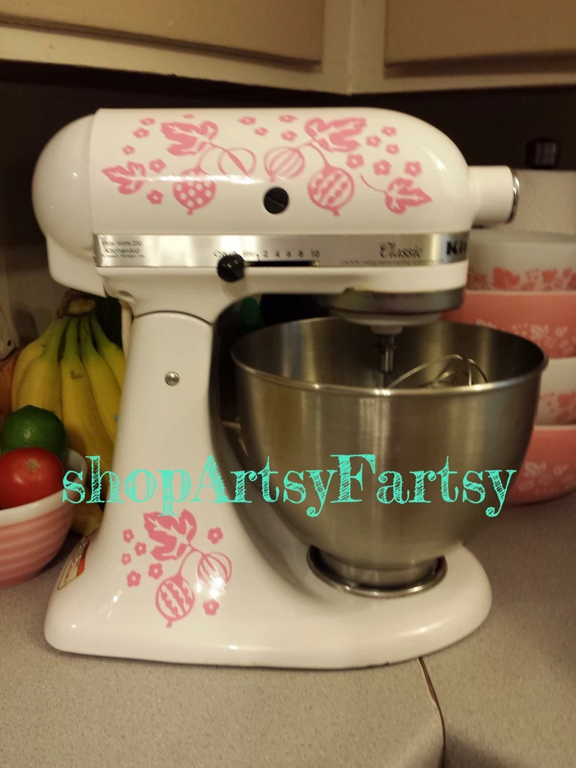 pink kitchen aid mixer bulbs pyrex gooseberry vinyl decals for your