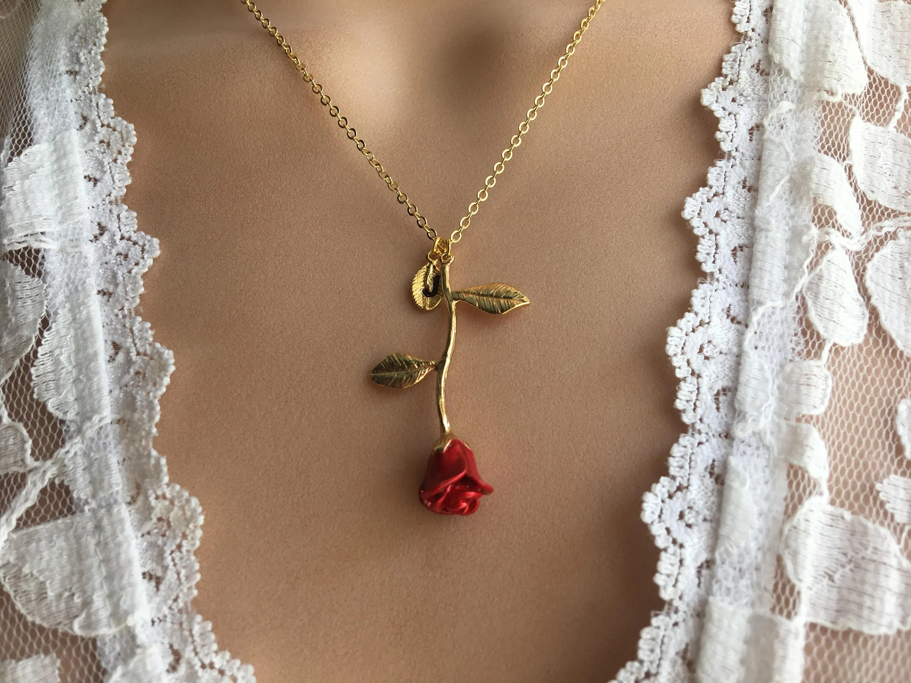Cute Rhinestone Wallpaper Original Beauty And The Beast Rose Necklace Silver Rose