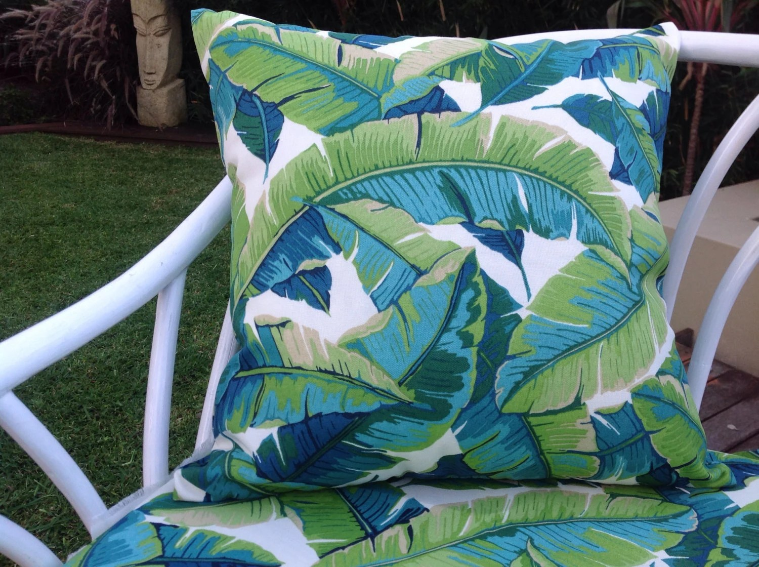 Outdoor Cushions Outdoor Pillows Palm Leaves Green Turquoise