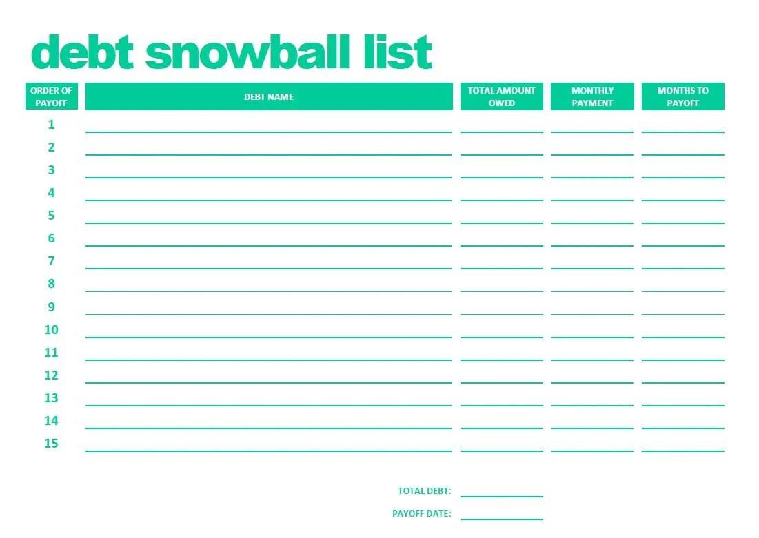 Printable Debt Snowball List