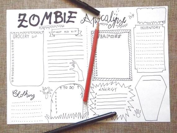Zombie Apocalypse Journal Party Halloween Journaling Survival
