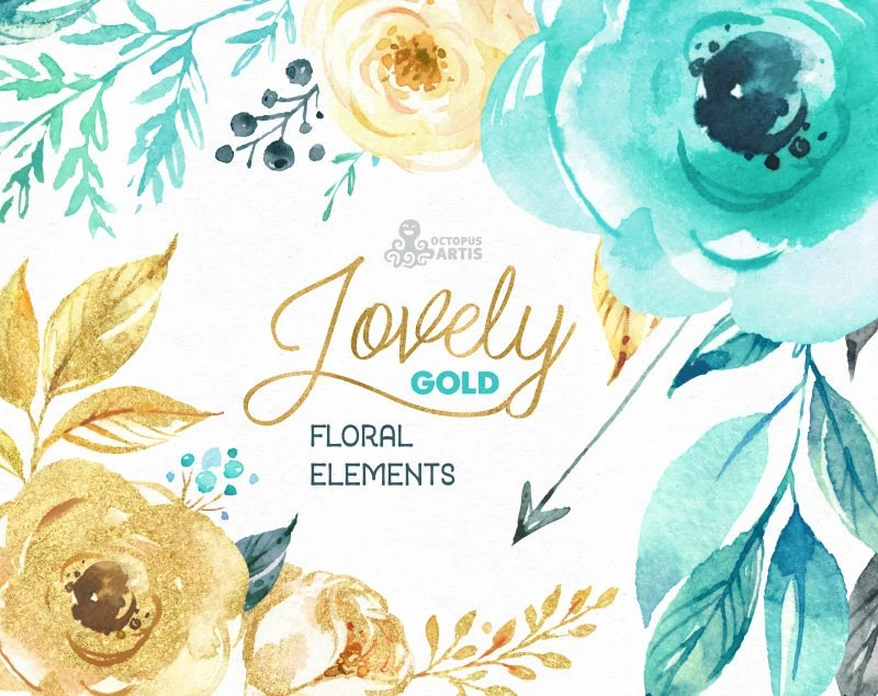 Lovely Flowers Gold Separate Floral Elements Watercolor
