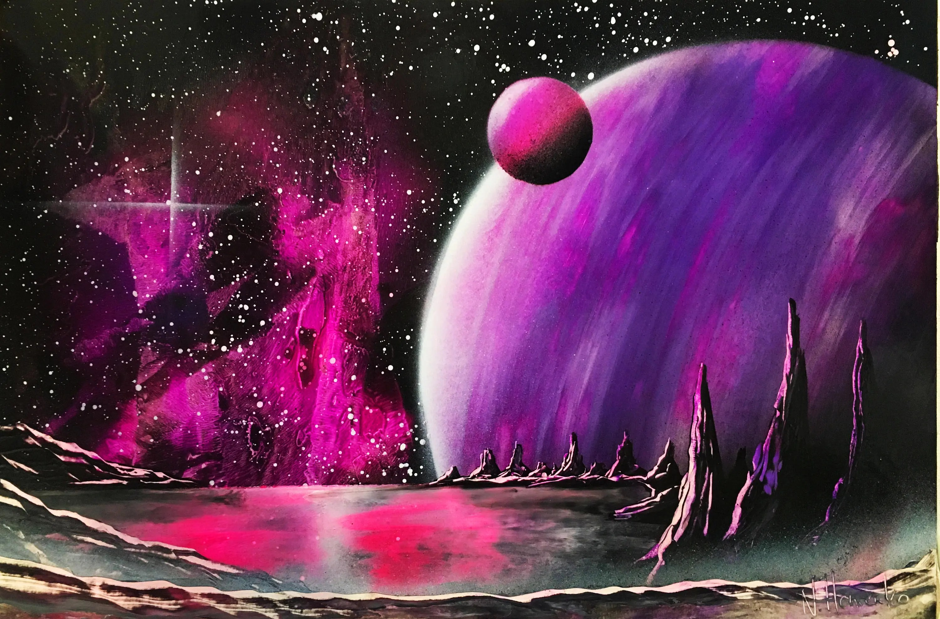 Spray Paint Art Space Painting Giant Planets Nebula Bright