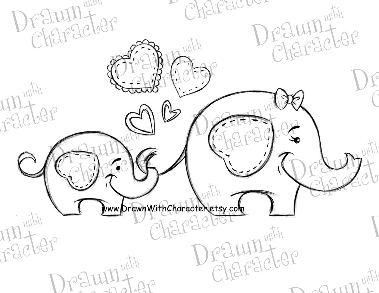 Mommy and Baby Elephant Mother's Day Digital Stamp/