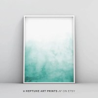 Abstract Wall Art Print Green Painting Emerald Teal Decor