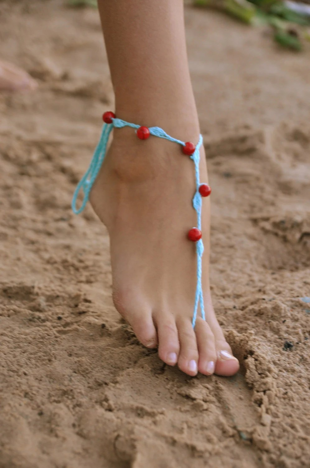 Crochet Turquoise Barefoot Sandals With Red Stone Beads Nude