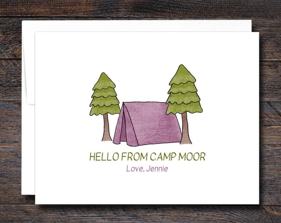Camp Stationery - Folded Note Cards - PINK