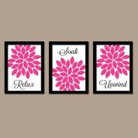 Hot Pink Black BATHROOM Wall Art CANVAS or Prints Flower