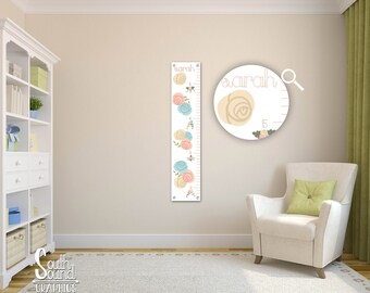 Growth chart for girls kids room wall decor floral custom hanging children   also feathers rh etsy