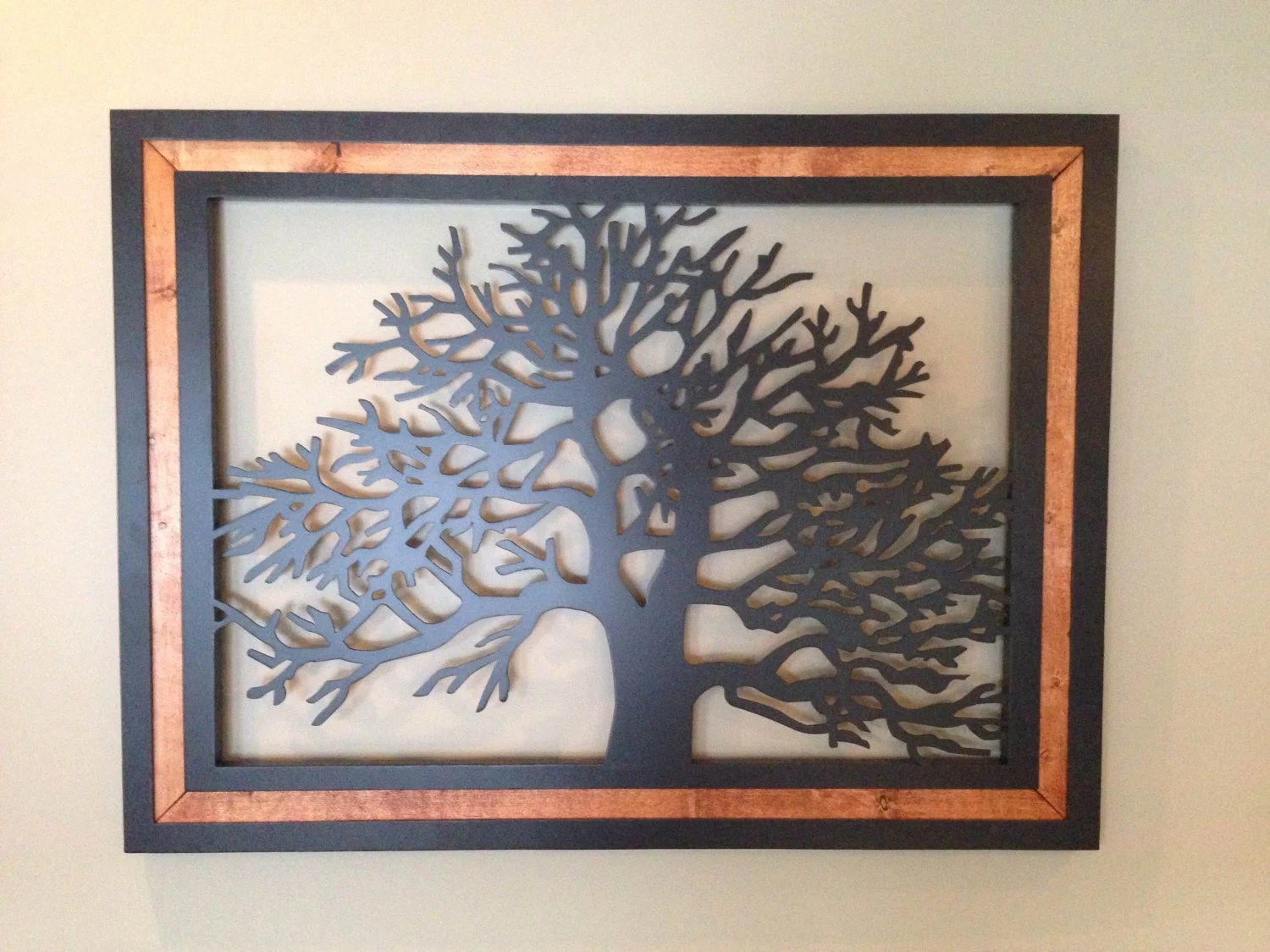 Items Similar To Wood Frame Metal Tree Wall Art On Etsy