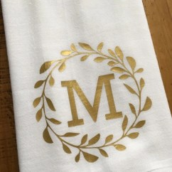 Monogrammed Kitchen Towels Hood Ideas Towel Personalized Gold Monogram
