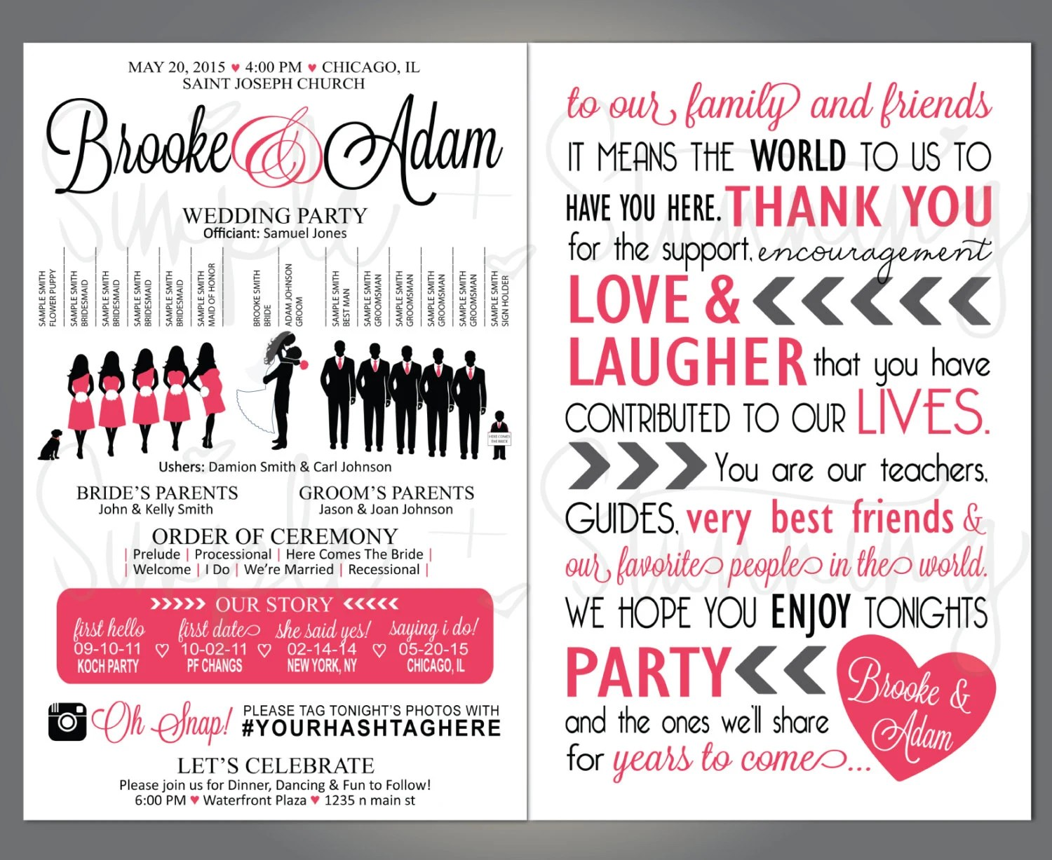 Silhouette Wedding Party Program Wedding Party Veritcal