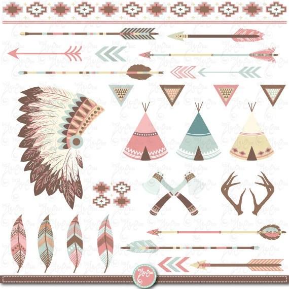 Arrow Border Indian Art Clip