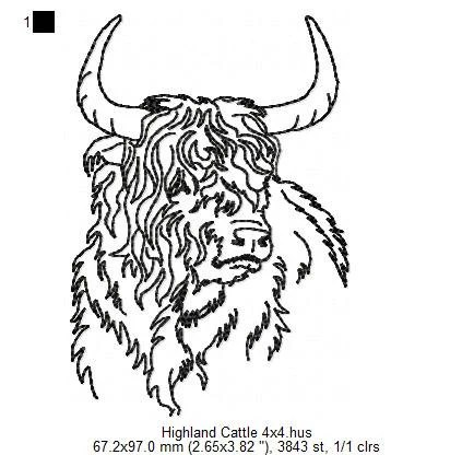 Highland Cattle Machine Embroidery Design Pattern Four sizes