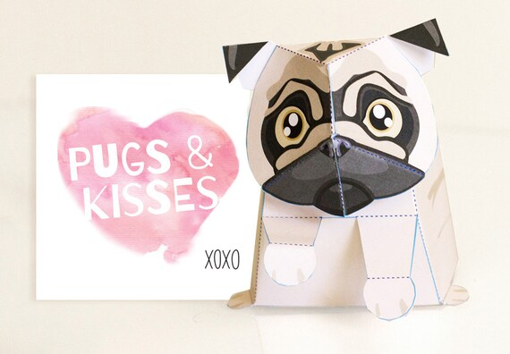 Pug Valentines Day Card Pug Toy Printable DIY