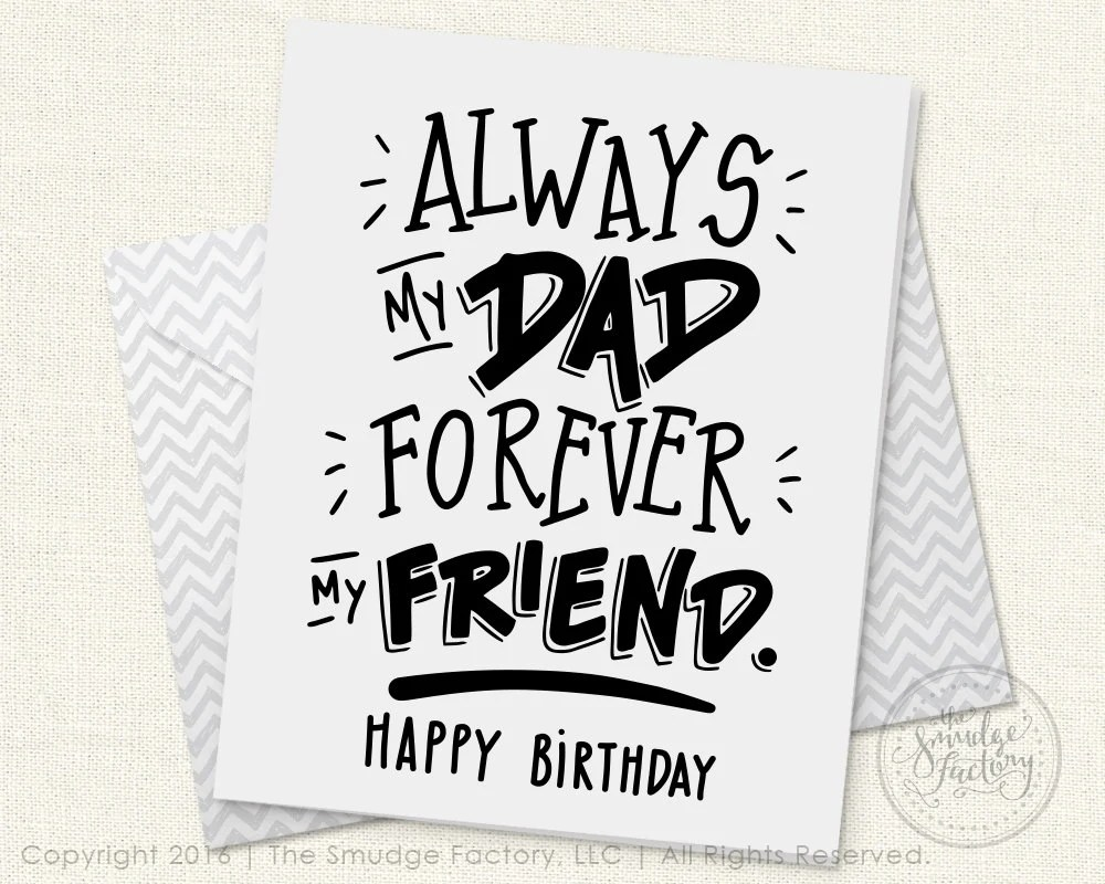 Dad's Birthday Card DIY Printable Birthday Card For Dad