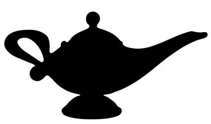 Genie Lamp Clipart Black And White
