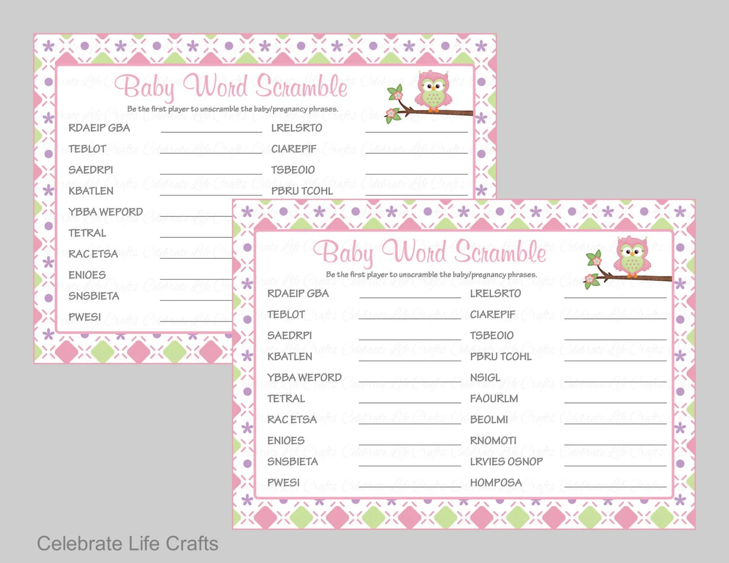 Baby Shower Word Scramble Game Amp Answer Key Printable