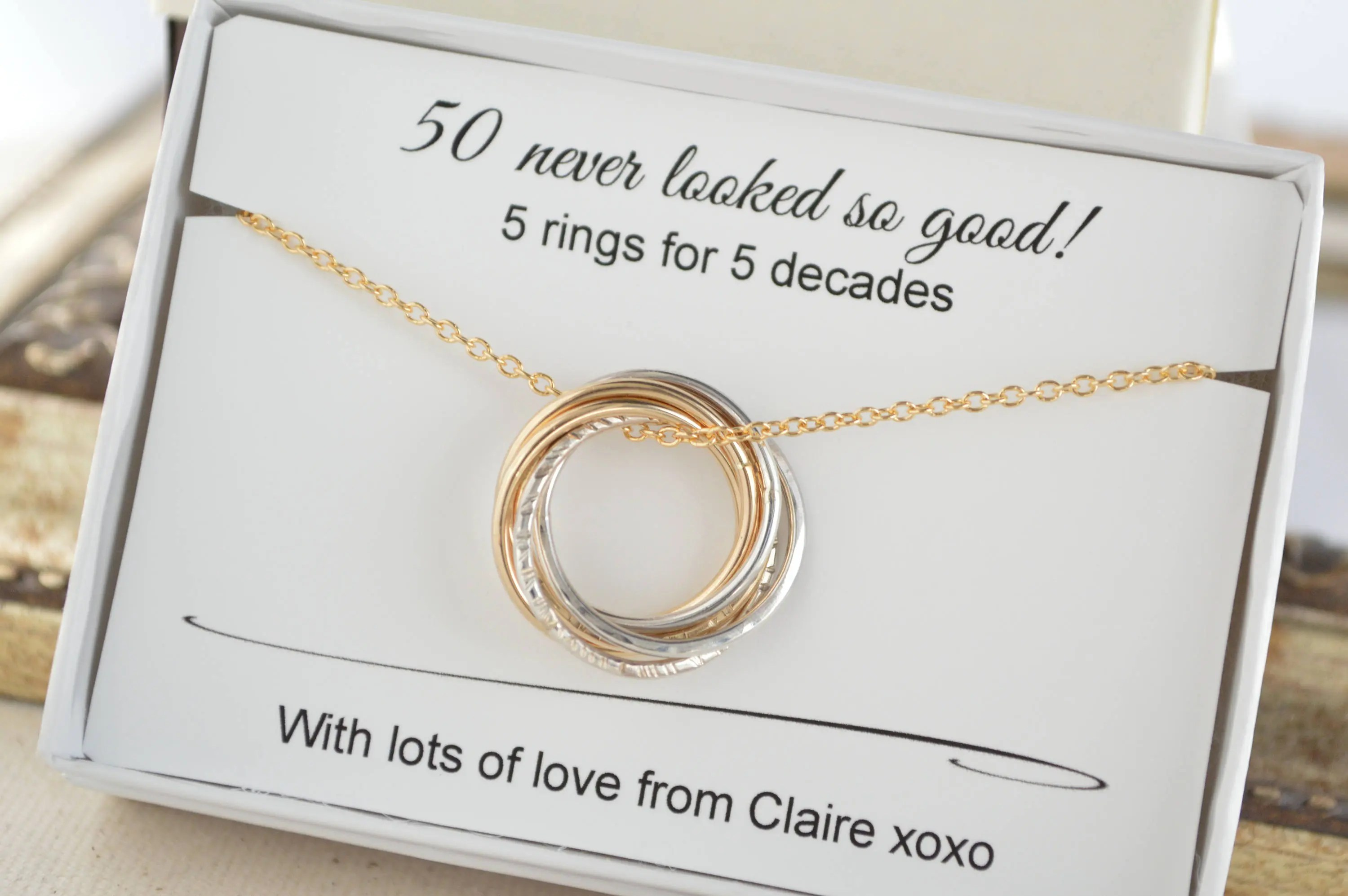 50th Birthday Gift For Women 5 Rings Necklace 50th Birthday