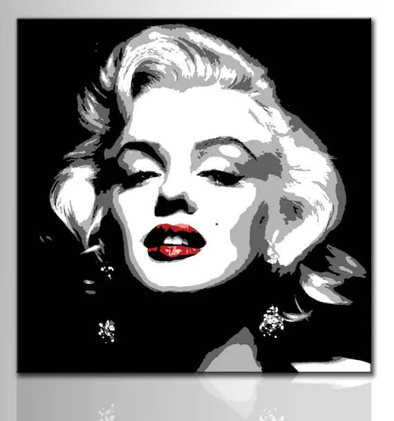 Quadro moderno Marilyn Monroe stile pop art dipinto a mano NO