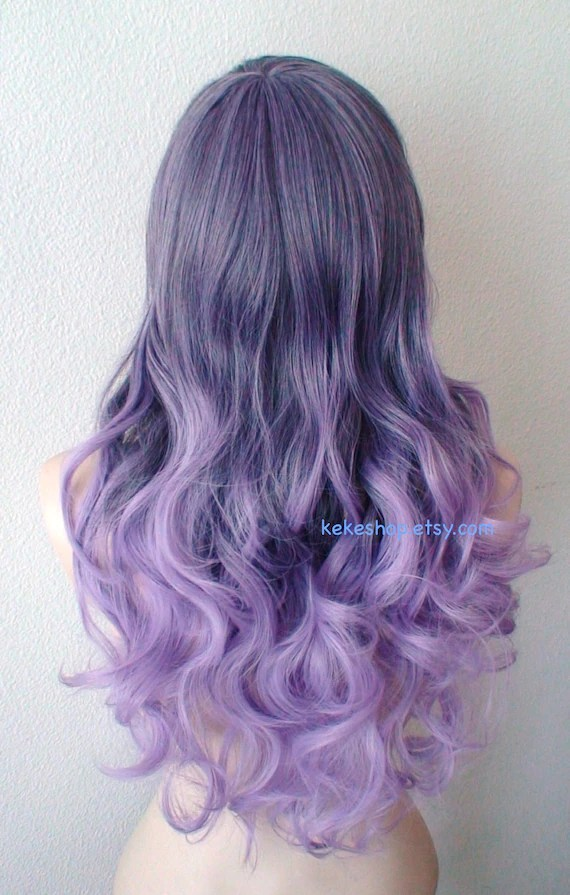 pastel purple ombre wig. long curly