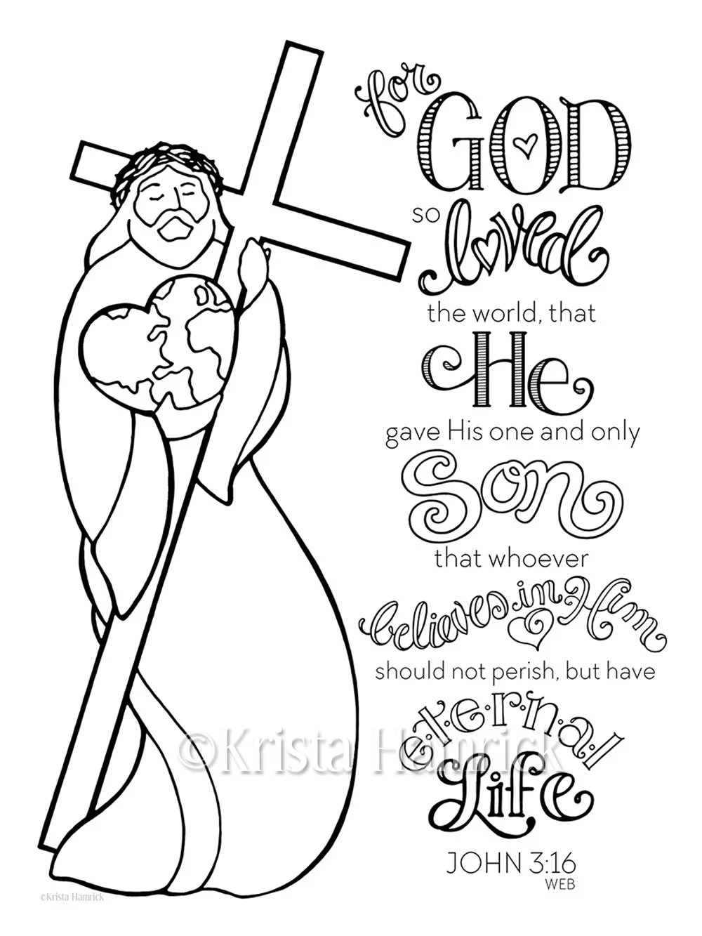 God So Loved the World coloring page 8.5X11 Bible