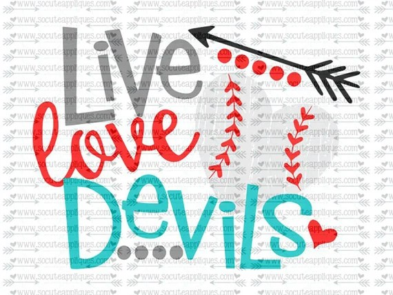 Download SVG DXF EPS Cut file Live Love Devils baseball svg team
