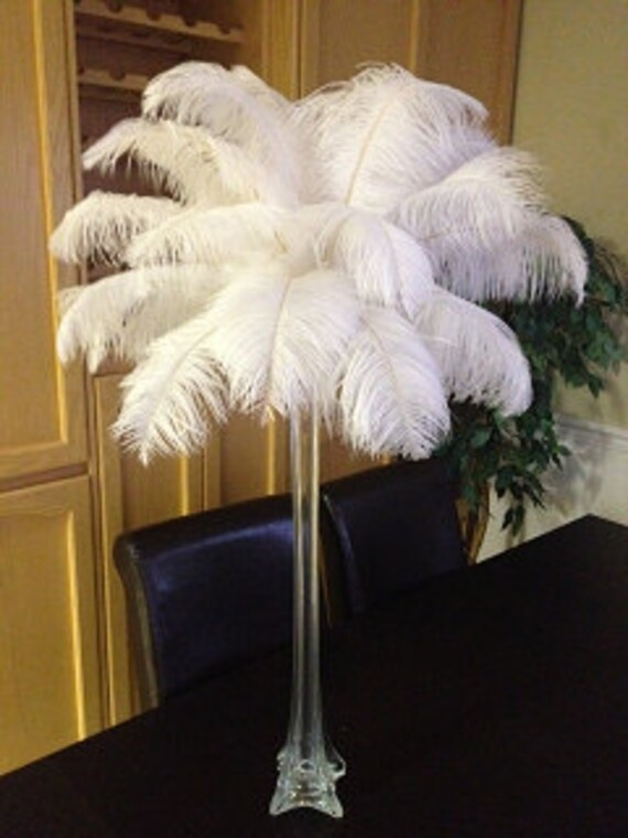 20 Tall Ostrich Feather Centerpiece Kits with Eiffel