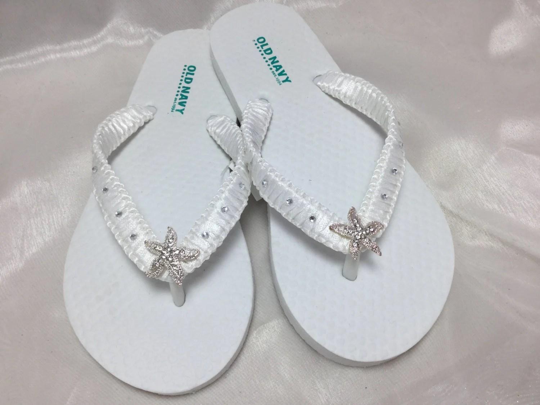 White Bridal Flip Flops Flower Girl Starfish