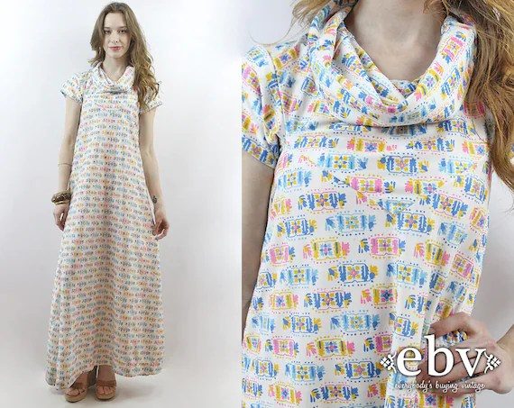 70s Maxi Dress Cowl Neck Dress 1970s Dress 70s Dress Hippie