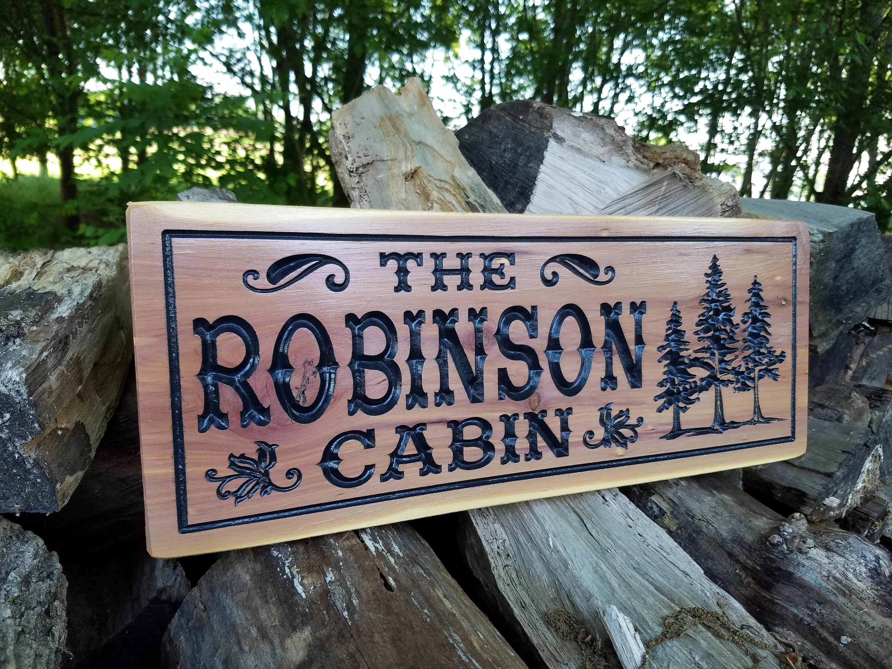 Cabin Signs Wooden Custom Outdoor Sign Personalized