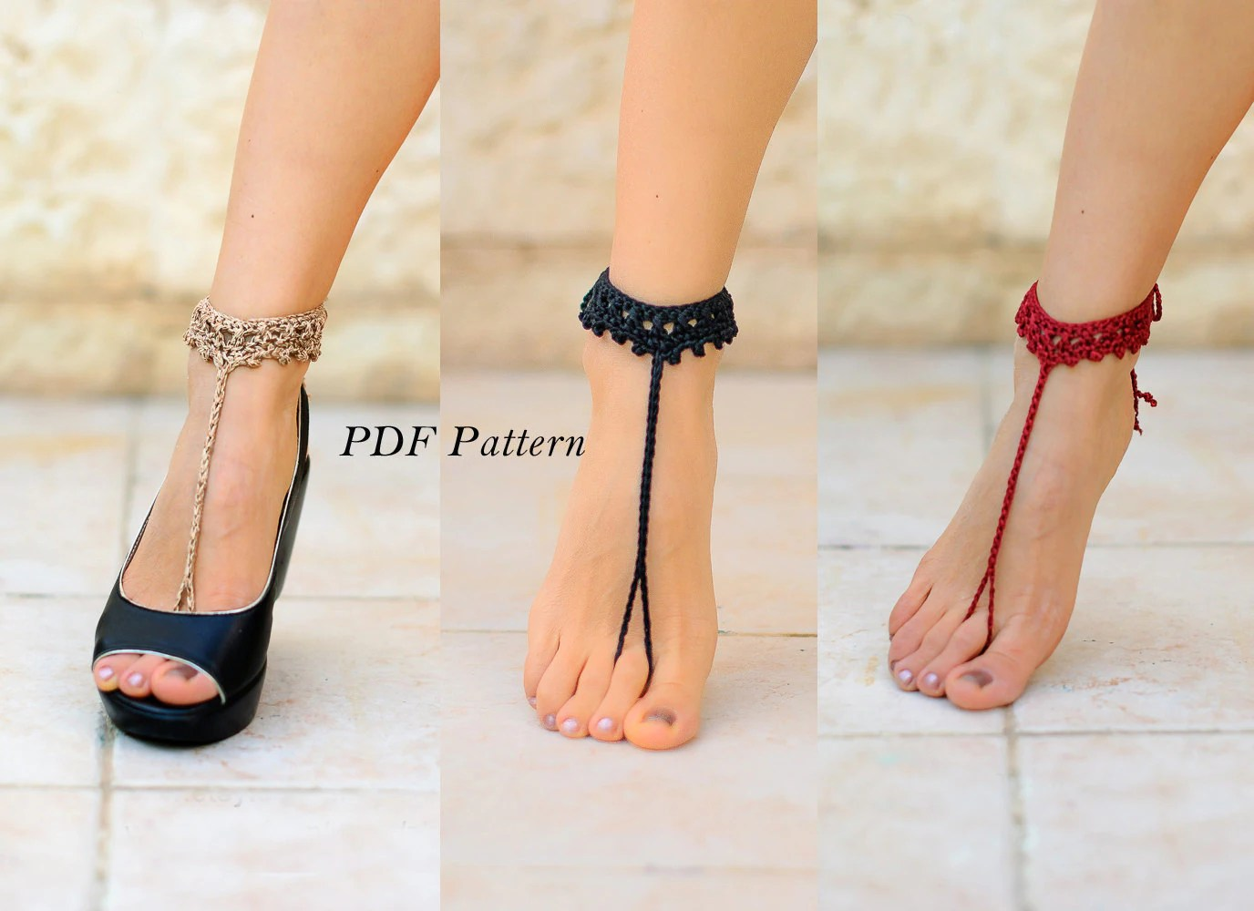 Pdf Crochet Pattern #4 Instant Barefoot Sandals