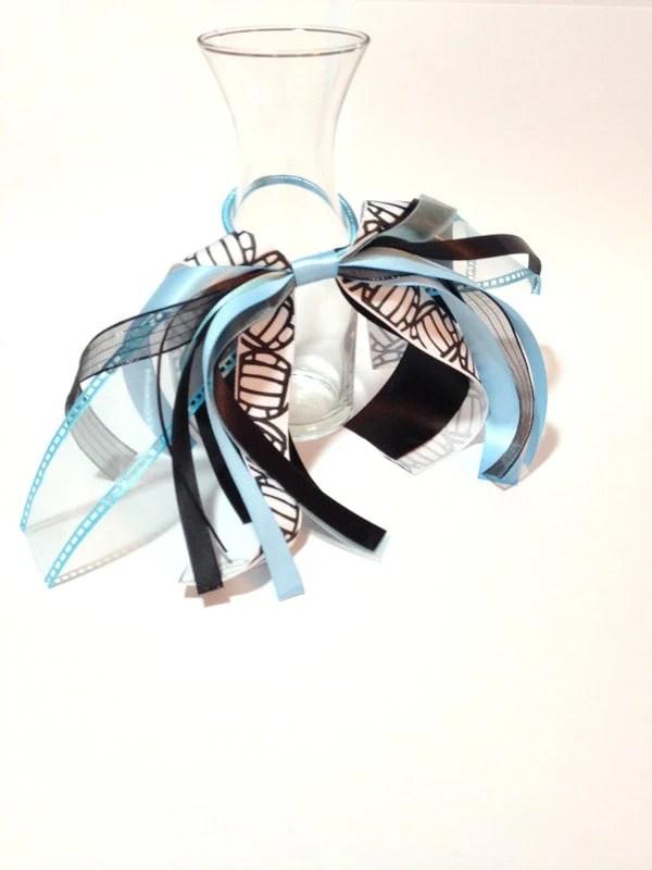 volleyball hair ribbon blue white