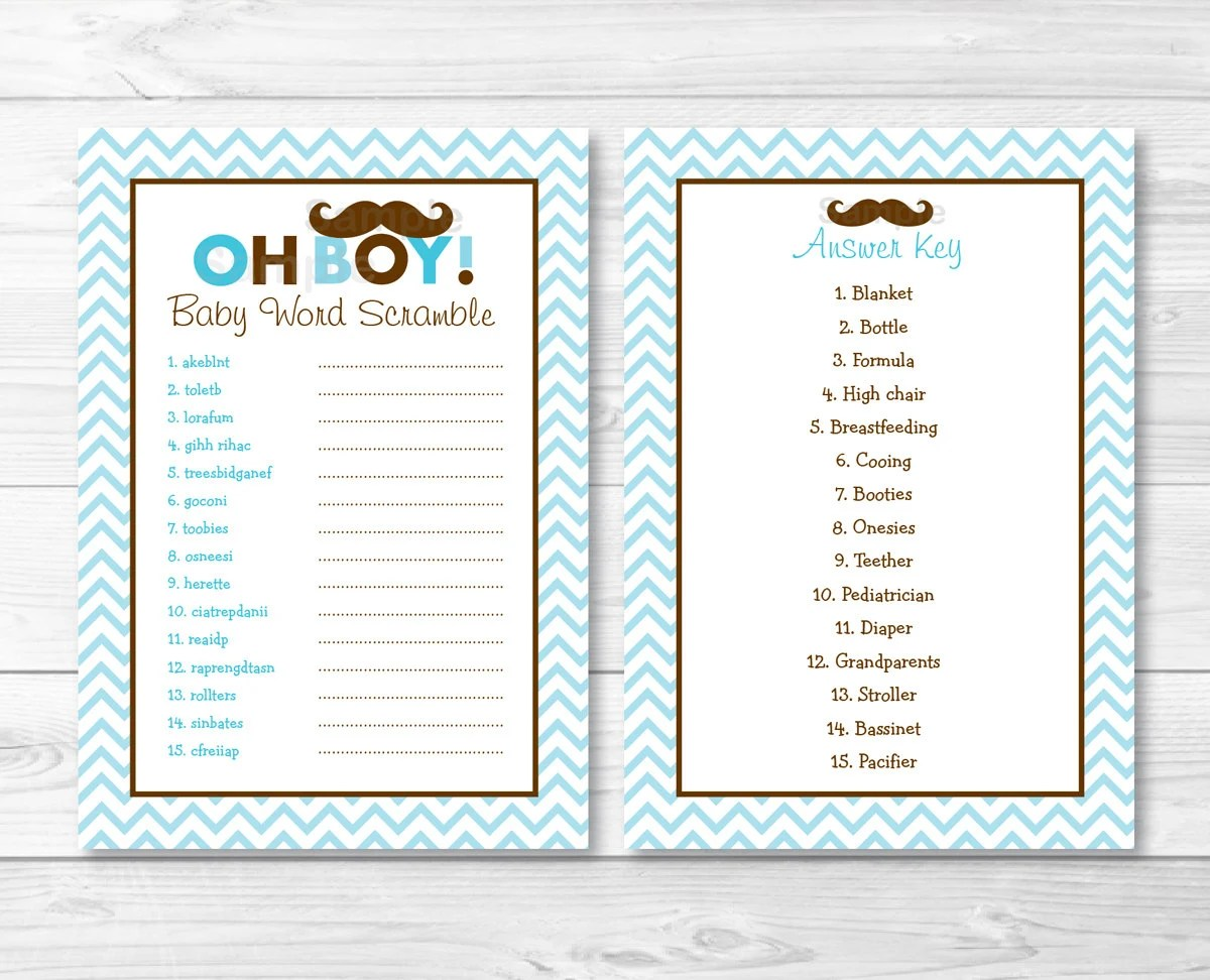 Mustache Oh Boy Baby Word Scramble Baby Shower Game