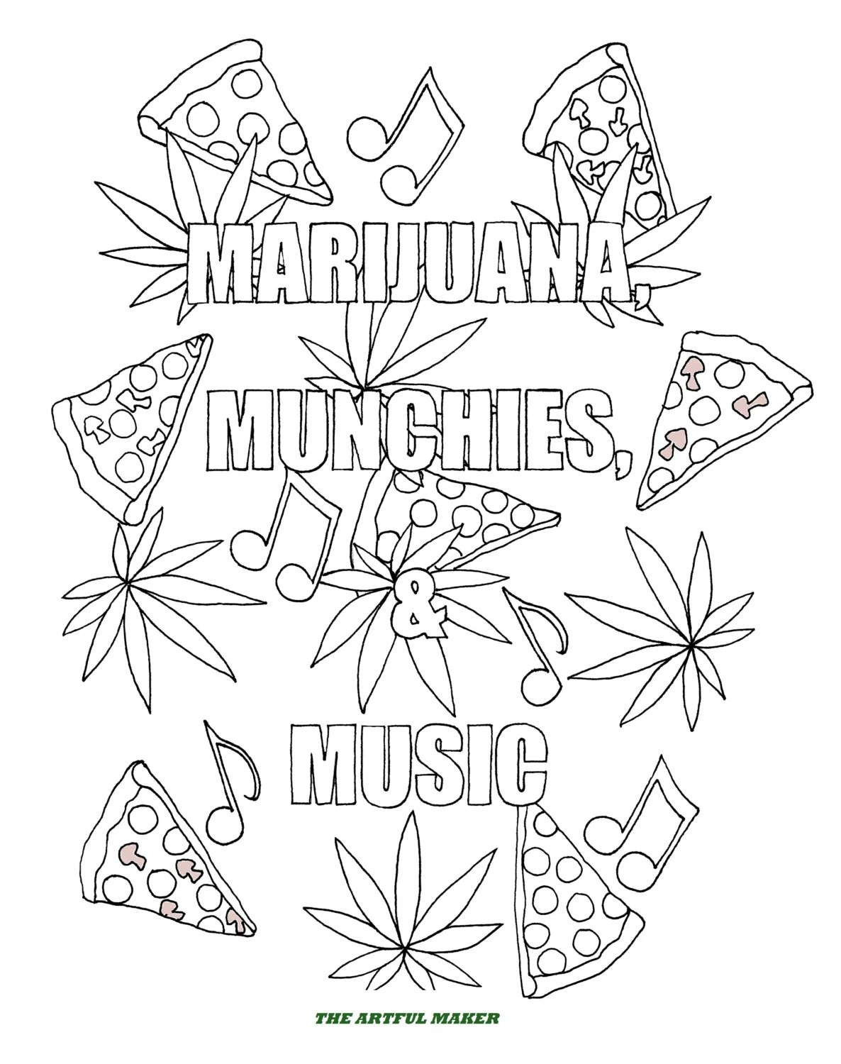 Marijuana Munchies & Music Adult Coloring Pages by The