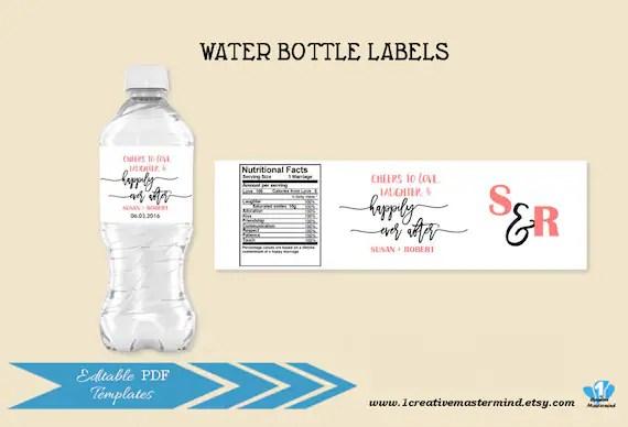 DIY Wedding Water Bottle Label Template Editable Water Bottle
