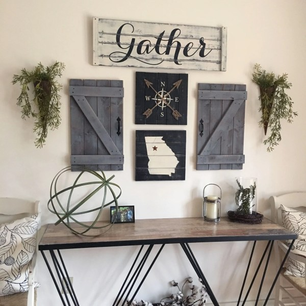 Gather Sign 5 Piece Set Rustic Wall