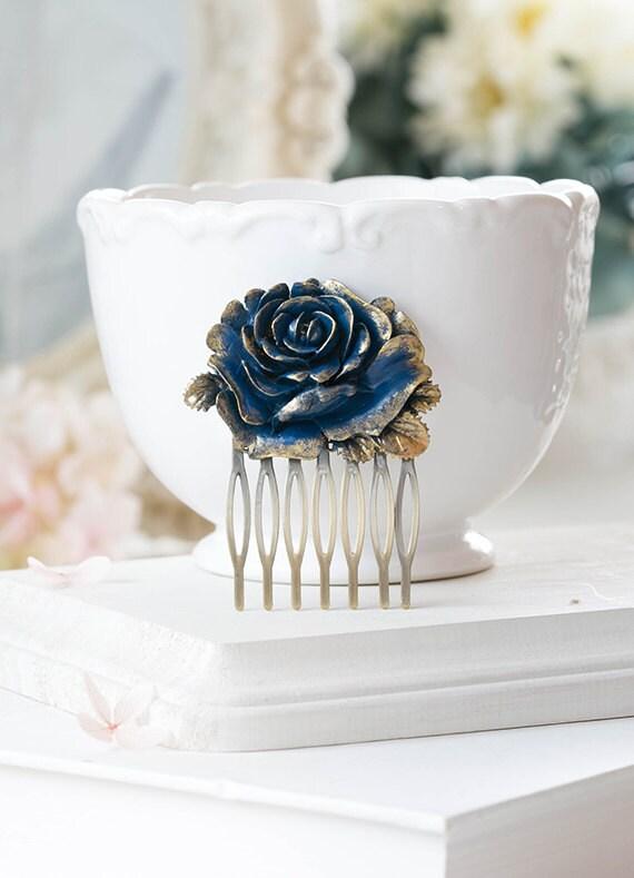 Dark Blue Rose Hair Comb Gold Navy Blue Flower Hair Comb