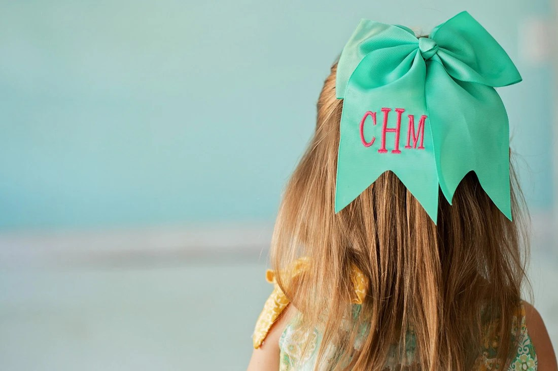monogrammed hair bow girls