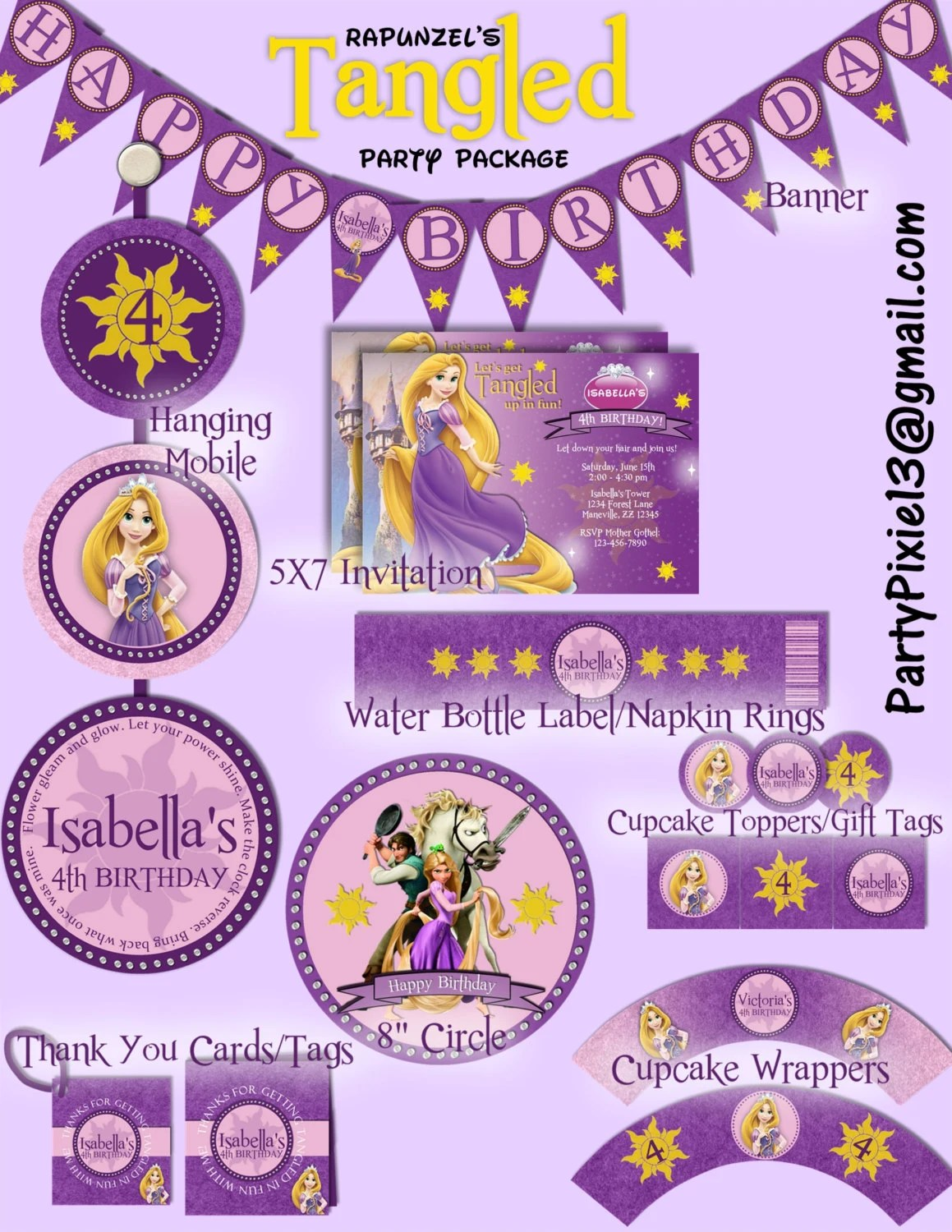 Disney Princess Rapunzel Tangled Party Package With Invitation