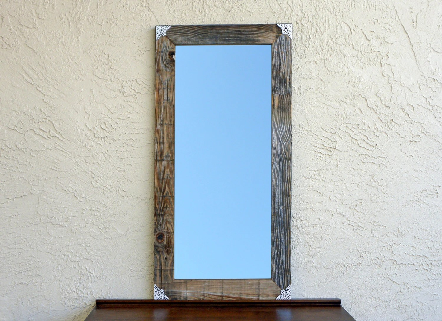 Reclaimed Wooden Mirror With Silver Filigree Corners. Rustic