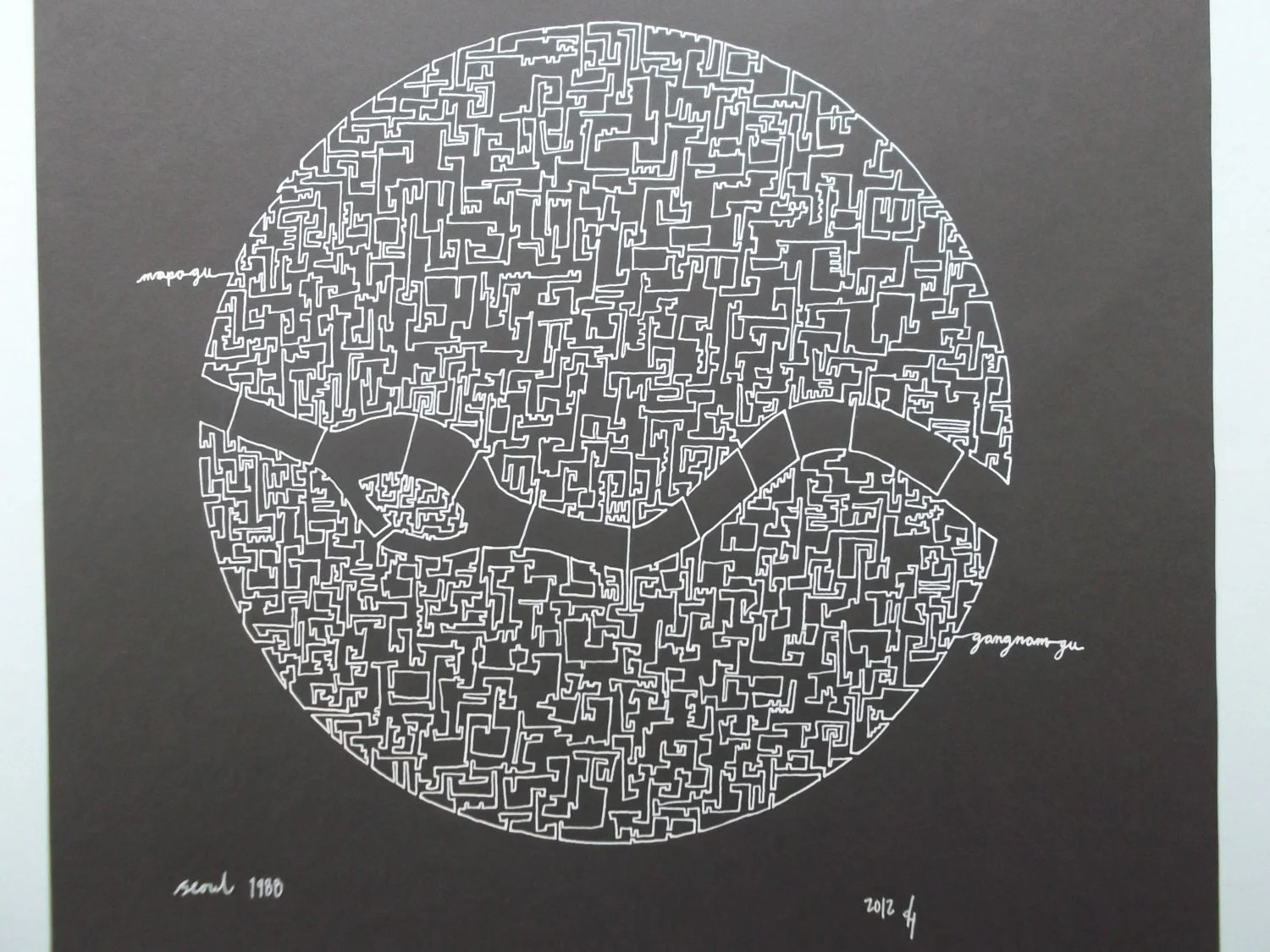 Seoul Olympic City Abstract Map Drawing