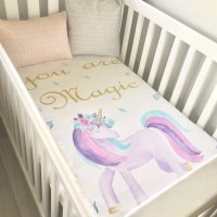 Baby Cot / Crib Quilt Blanket You Are Magic Watercolour