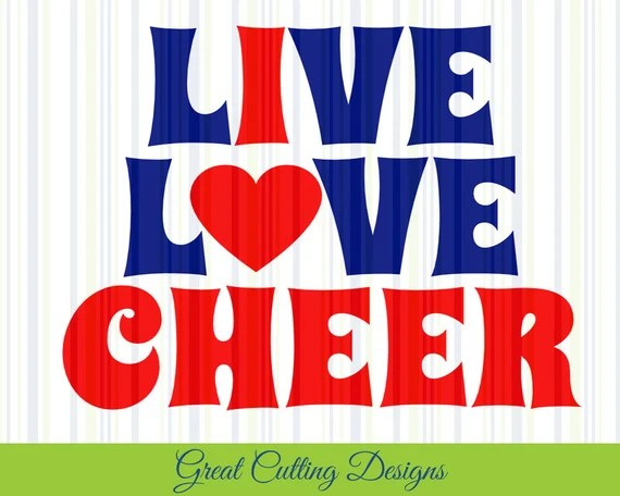 Download Cheerleader SVG Cut File live love cheer svg DXF cut file