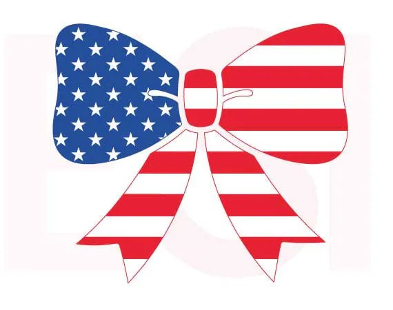 american flag svg bow design 4th