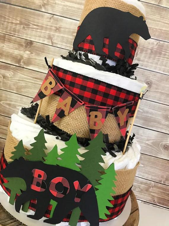 Lumberjack Baby Shower Diaper Cake Lumberjack Baby Shower