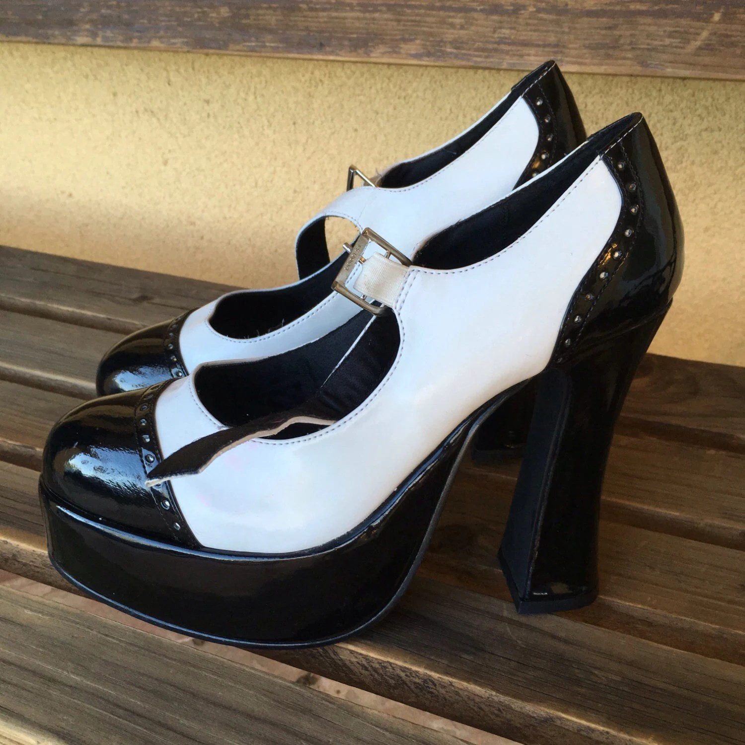 Chunky Heels Mary Jane Shoes Sexy Black White Goth