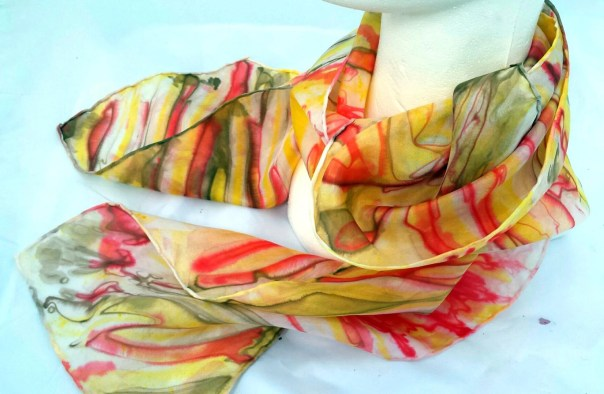 Beautiful orange & yellow striped Silk scarf. Original art, Hand painted abstract designs by artist M Theresa Brown.Custom designs available