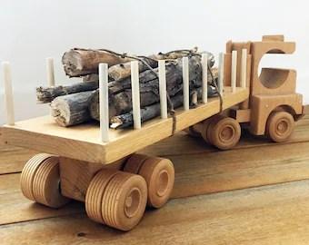 Log Truck Redwood Heirloom Toy Handmade