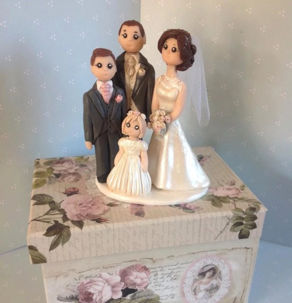 Custom made wedding cake topper - Bride and groom with two children